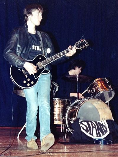 Doug MacPherson and Glen 'Wally' Wallce' rehearsing, circa 1987.