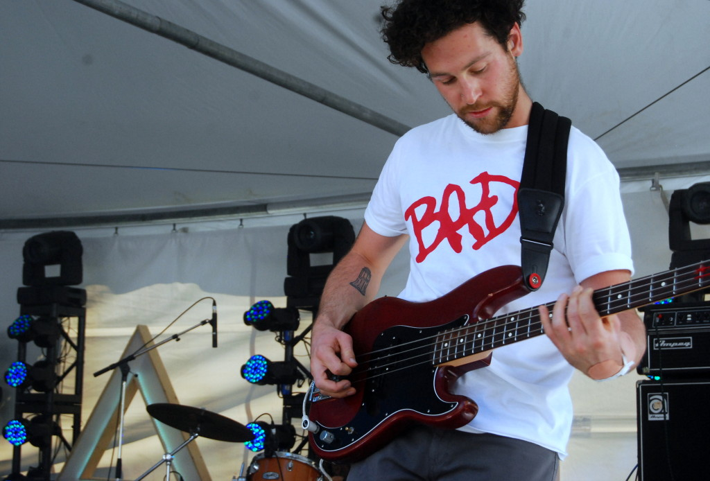 Zavh Bines, bass player for Weaves, getting his groove on at Arboretum 2014. Photo: Jeff Watkins
