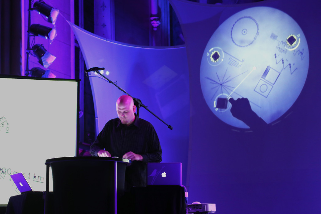 Jesse Stewart remixes the Voyager Golden Records on his Reactable for Chamberfest's Chamber Fringe at St. Brigid's Centre for the Arts on Friday, Aug. 1, 2014. Photo credit: Hanhong Dan