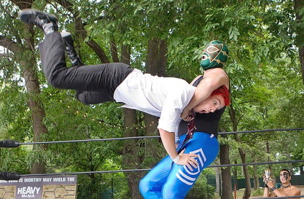 Heavy Mania wrestlers throwing down. Photo by Marie-France Coallier / The Gazette
