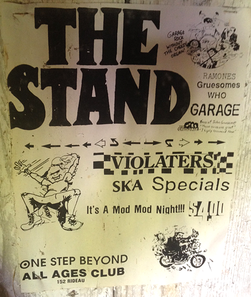"""Actual poster for the show that still hangs in the old rehearsal 'chicken coop'! Note the little Gruesomes logo with quote that says, handwritten: """"Bassist John Gruesome: These guys are great. I highly recommend them."""""""