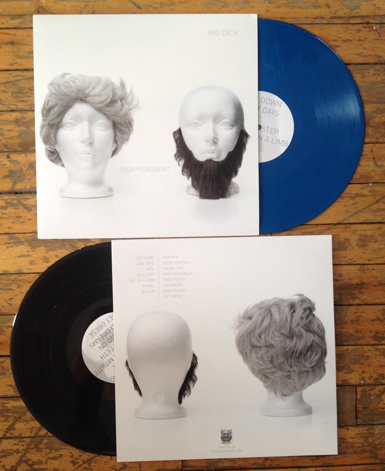 "Big Dick ""Disappointment"" vinyl LP, in black and lim. ed. blue."