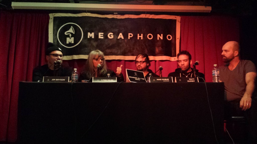 MEGAPHONO Panel: Wearing All the Hats with Jim Bryson, Lynn Myles, Mike Dubue, and Matt Ouimet. Moderated by Jon Barlett.