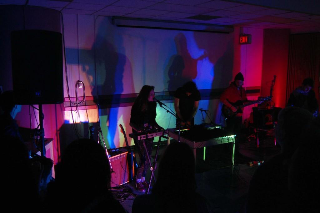 Boyhood performing in the Diefenbunker druing MEGAPHONO in Ottawa, ON. Photo: Eric Scharf