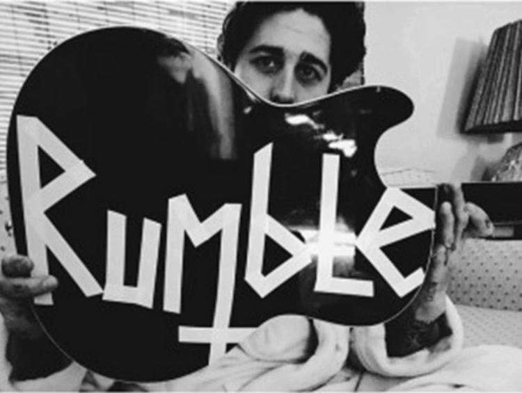 Guitarist Joseph Perry and his Rumble inspiration. Photo from bands Facebook page.