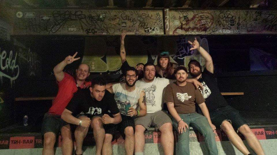 A bunch of Ottawa friends at the top of the half-pipe in TRH Bar during Pouzza Fest in Montreal, QC.