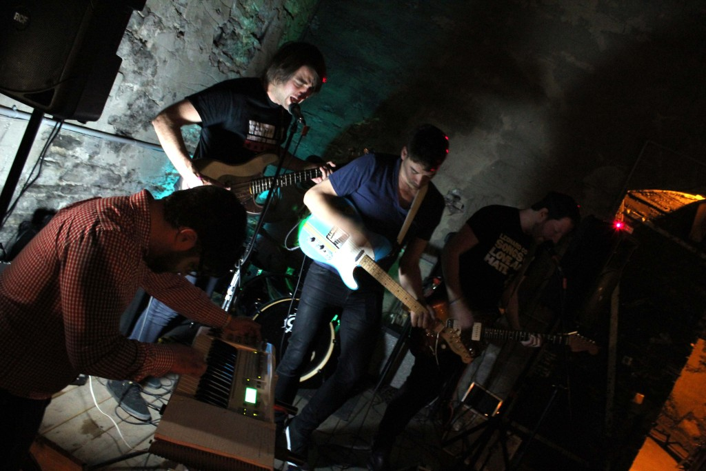 Slow Down Molasses playing in the Mugshots' courtyard in Ottawa, ON. Photo: Eric Scharf