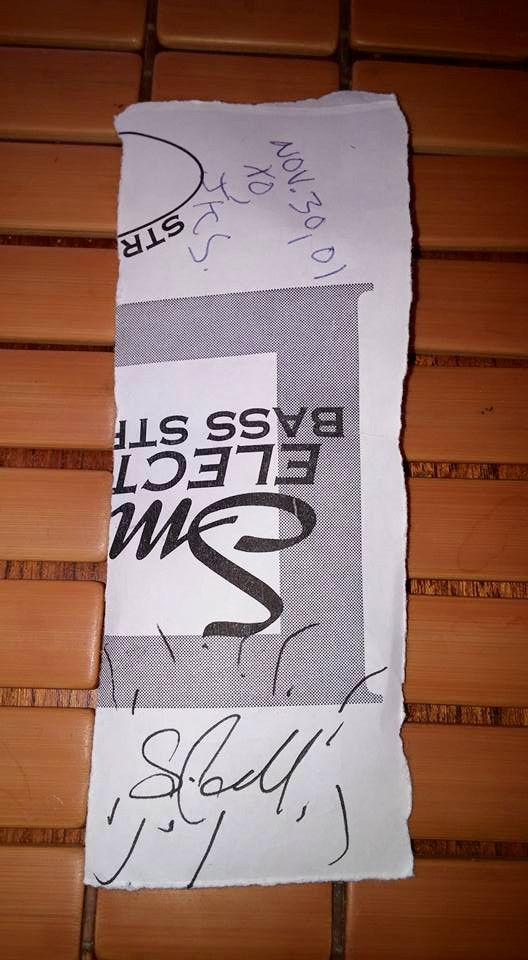 The autographed back of The Weakerthans' set list from their November 2001 show at Byblon in Ottawa, on.