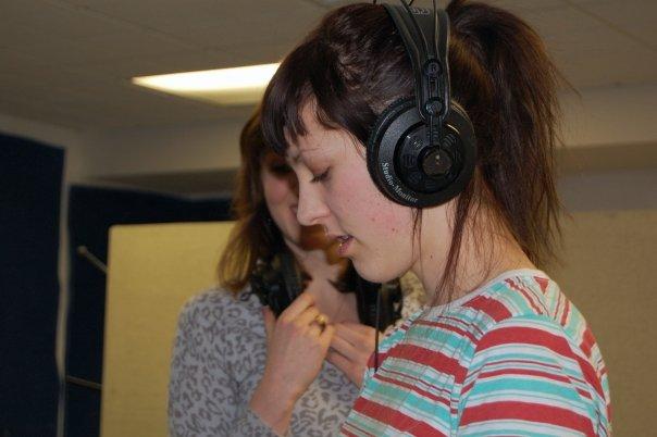 Allie Hanlon (aka Peach Kelli Pop) recording tambourine for The Felines track.