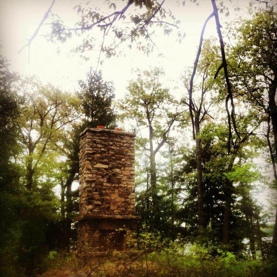 The lone chimney that still stand on the island, the only structure that remains.