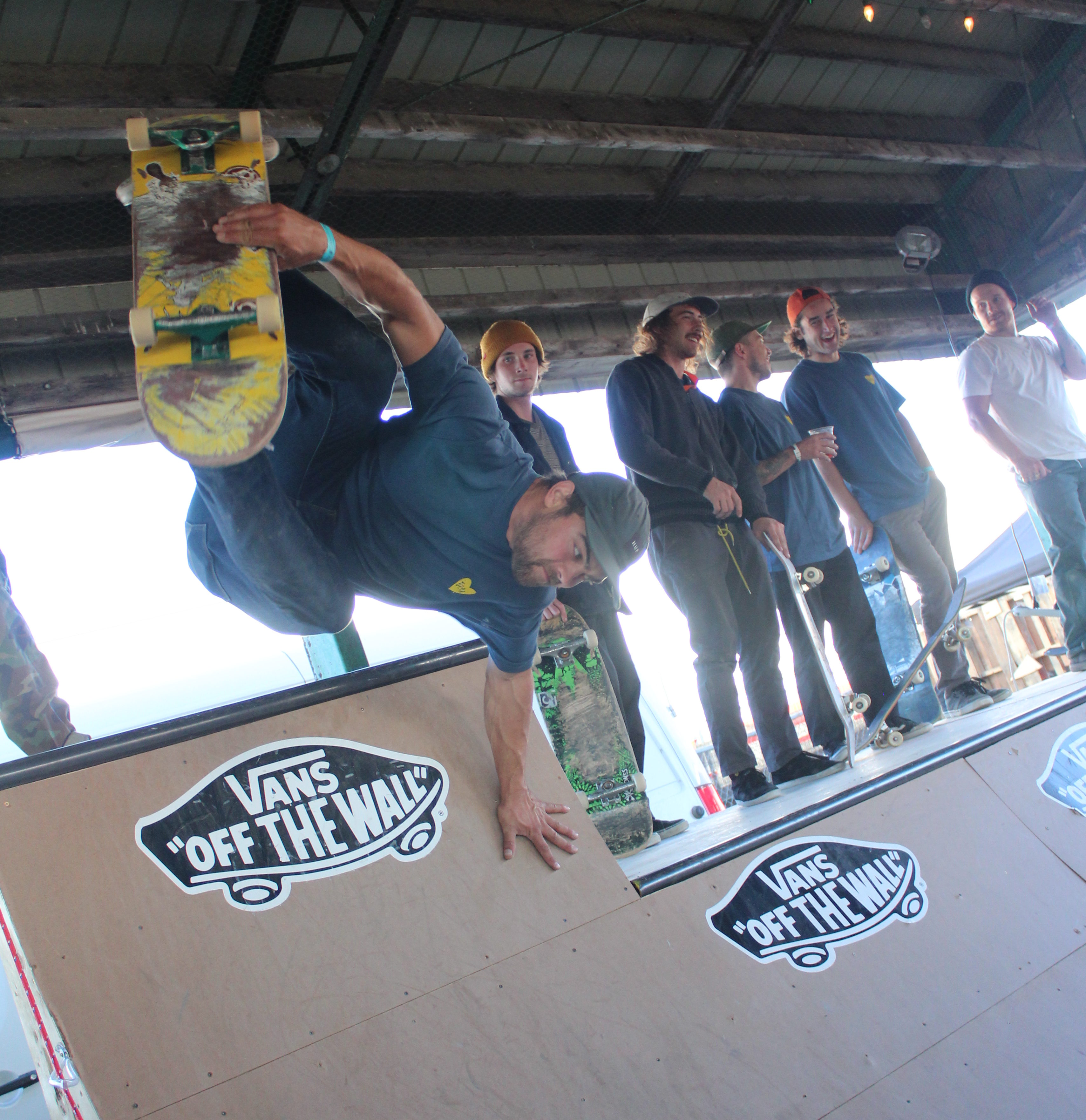 Member of Antiques Skateboarding crew ripping it up on the halfpipe. Photo: Eric Scharf
