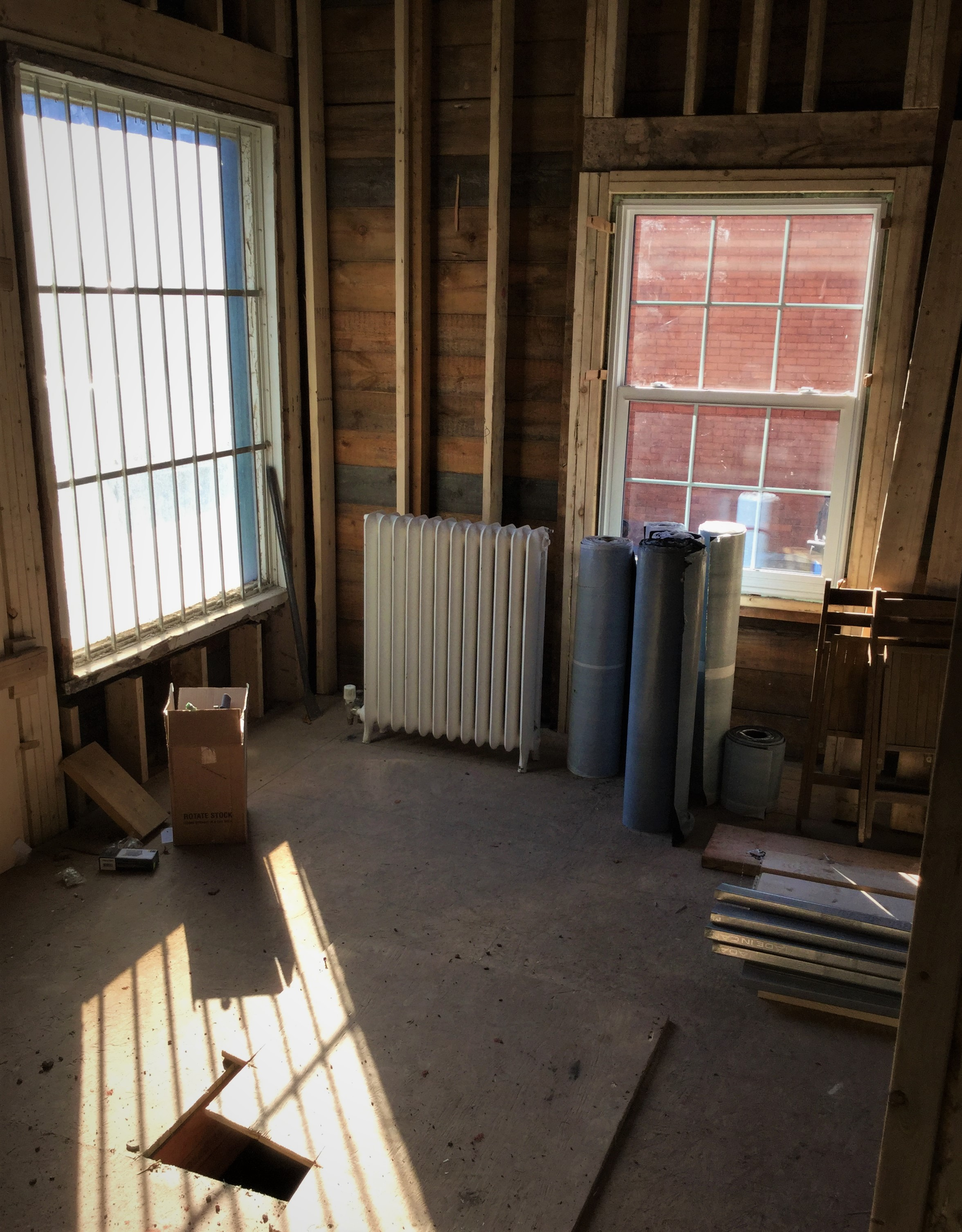 First look inside. The Heritage building is being restored and construction is ongoing.
